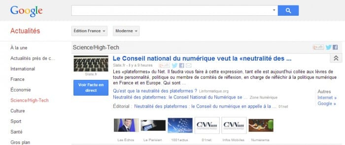 google actu screenshot