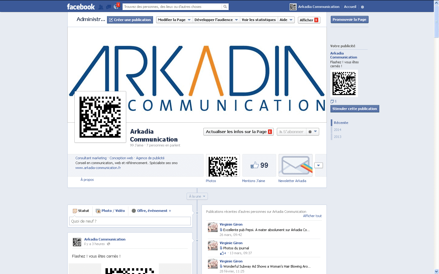 fanpage facebook arkadia communication