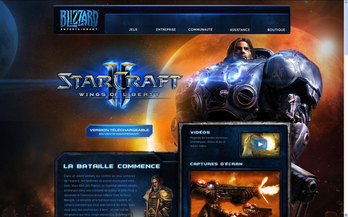 jeu video StarCraft sur le site internet blizzard