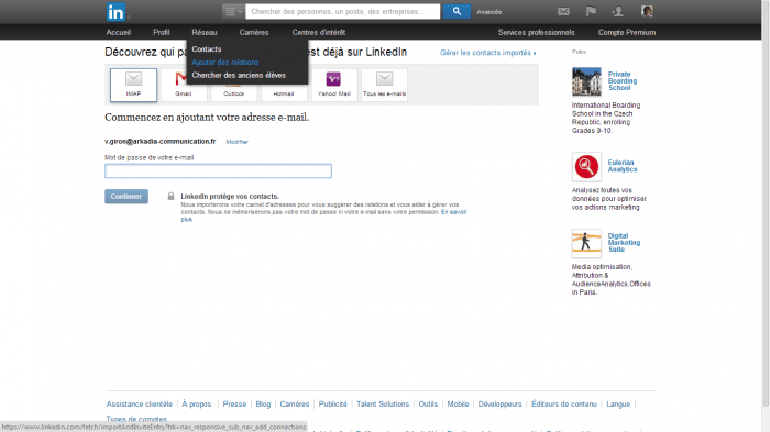 linkedin ajout contacts
