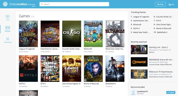 dailymotion games accueil jeu video streaming
