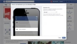 facebook bouton call to action pour iOS Apple